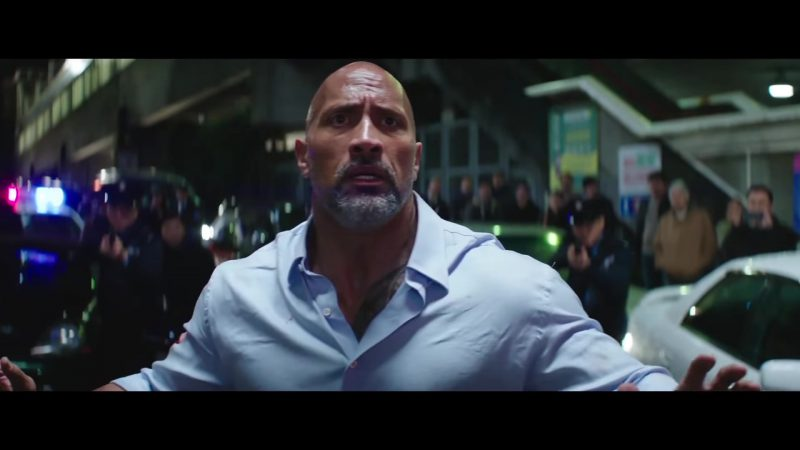 "Blue Shirt Worn by Dwayne Johnson (The Rock) in ""Skyscraper"" Movie"