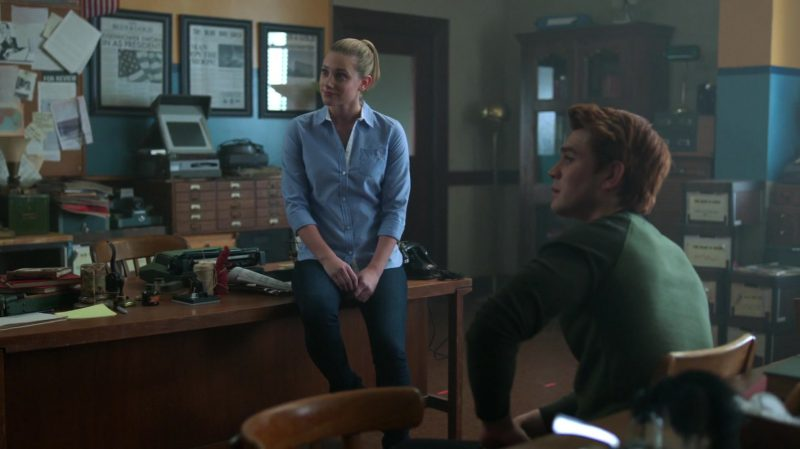 """Blue Shirt Worn by Lili Reinhart in """"Riverdale"""" TV Show - Female Fashion Outfits and Products"""
