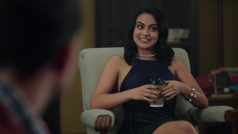 "Blue Top and Green Plaid Skirt Worn by Camila Mendes in ""Riverdale"" TV Show"