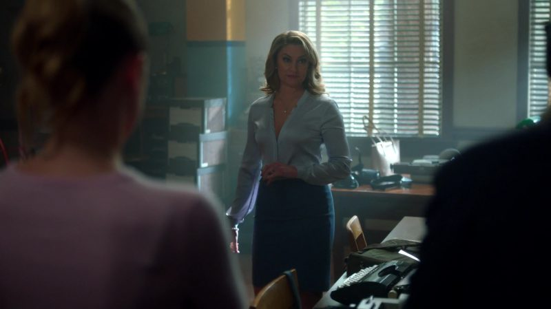"Blue Top and Pencil Skirt Worn by Mädchen Amick in ""Riverdale"" TV Show"