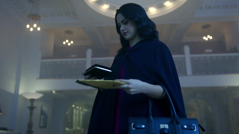 "Cape Coat and Purple Dress Worn by Camila Mendes in ""Riverdale"" TV Show"
