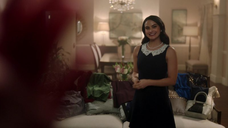 "Classic Black Dress With Lace White Collar Worn by Camila Mendes in ""Riverdale"" TV Show"