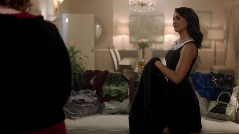 "Female  Celebrity Style:  Classic Black Dress With Lace White Collar Worn by Camila Mendes in ""Riverdale"" TV Show"