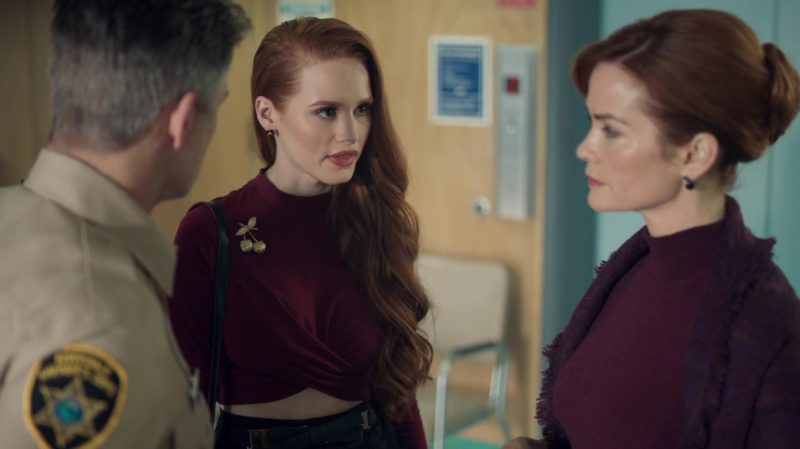 """Crop Top and Cherry Brooch Worn by Madelaine Petsch in """"Riverdale"""" TV Show"""