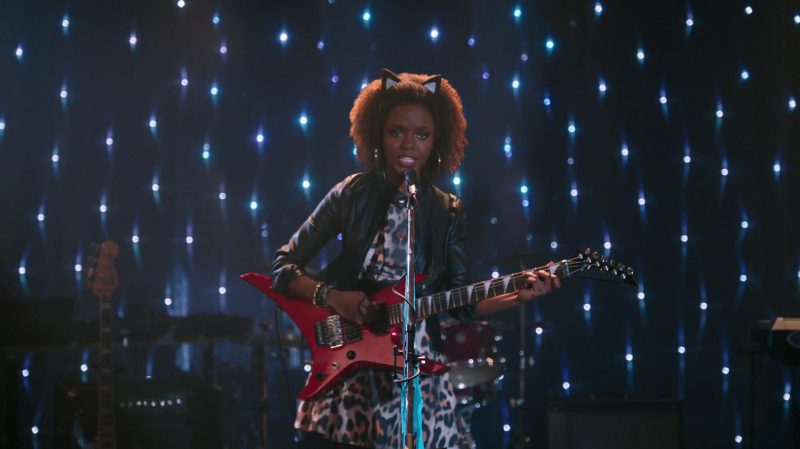 "Cropped Leather Jacket and Leopard Dress Worn by Ashleigh Murray in ""Riverdale"" TV Show"