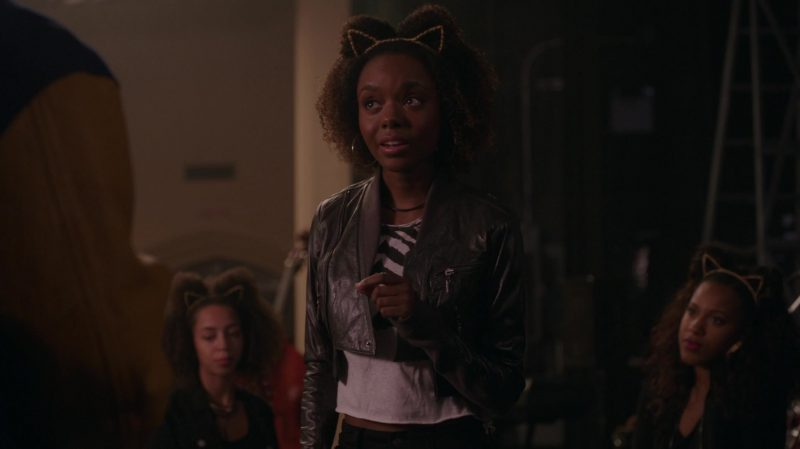 "Cropped Leather Jacket and Zebra Print T-Shirt Worn by Ashleigh Murray in ""Riverdale"" TV Show"