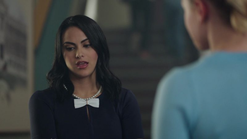 """Fashion Trends 2021: Dress With White Bow Tie Worn by Camila Mendes in """"Riverdale"""""""