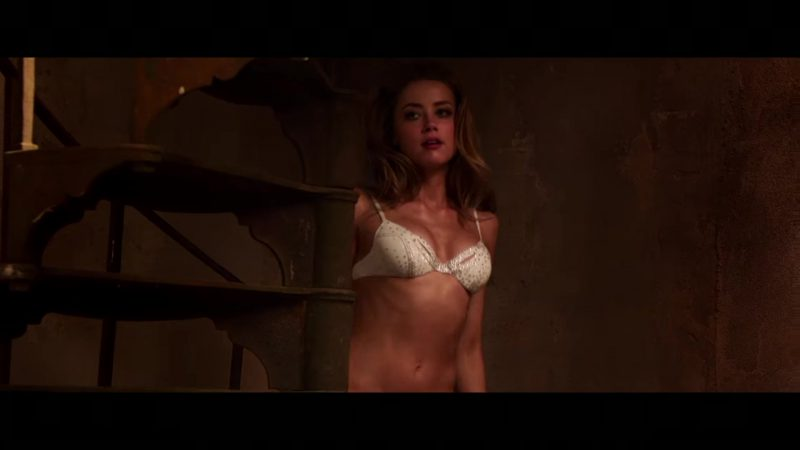 "Embellished White Bra and Panties Worn by Amber Heard in ""London Fields"" - Movie Outfits and Products"