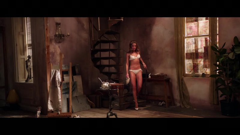 """Embellished White Bra and Panties Worn by Amber Heard in """"London Fields"""" Movie"""