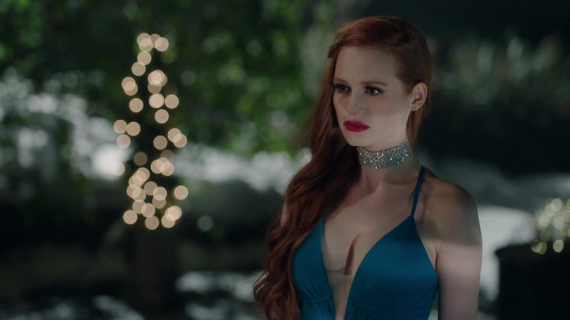 """Evening Green Long Dress Worn by Madelaine Petsch in """"Riverdale"""" - TV Show Outfits and Products"""