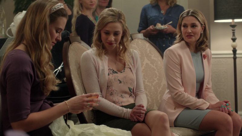 "Floral Blouse, Cropped Cardigan and Green Skirt Worn by Lili Reinhart in ""Riverdale"" TV Show"