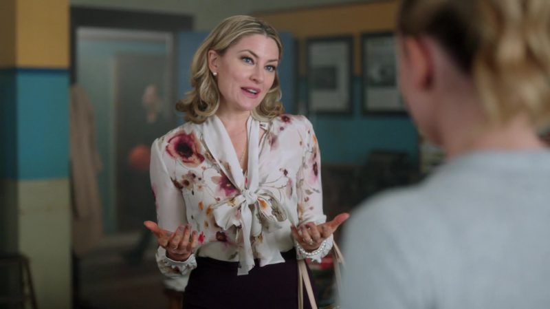 """Floral Blouse and Pencil Skirt Worn by Mädchen Amick in """"Riverdale"""" - TV Show Outfits and Products"""