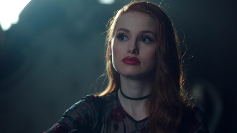 "Floral Embroidered Mesh Top Worn by Madelaine Petsch in ""Riverdale"" TV Show"