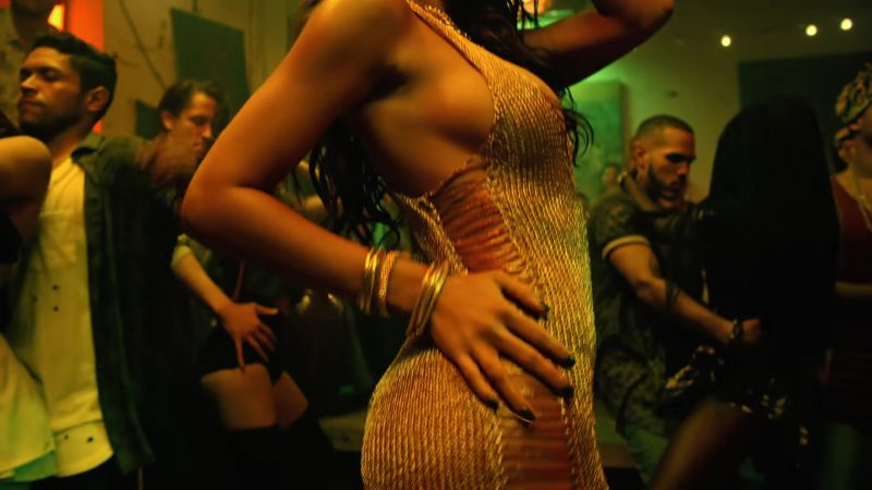"Female  Celebrity Style:  Gold Dress Worn by Model (Zuleyka Rivera) in ""Despacito"" Music Video by Luis Fonsi ft. Daddy Yankee"