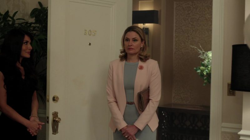 "Green Belted Dress and Pink Blazer Worn by Mädchen Amick in ""Riverdale"" TV Show"