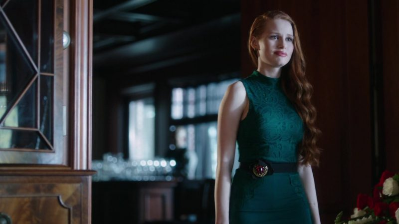 """Green Belted Lace Dress Worn by Madelaine Petsch in """"Riverdale"""" TV Show"""