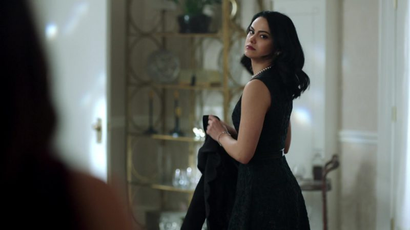 """Green Dress Worn by Camila Mendes in """"Riverdale"""" - TV Show Outfits and Products"""