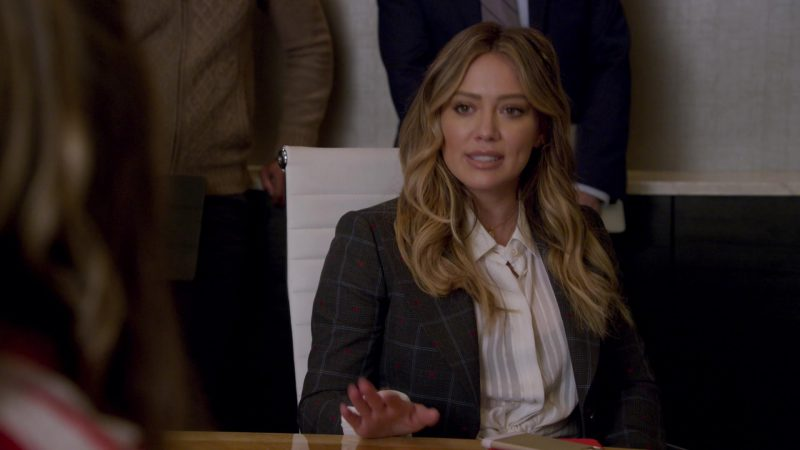 "Grey Blazer and White Blouse Worn by Hilary Duff in ""Younger"" - TV Show Outfits and Products"