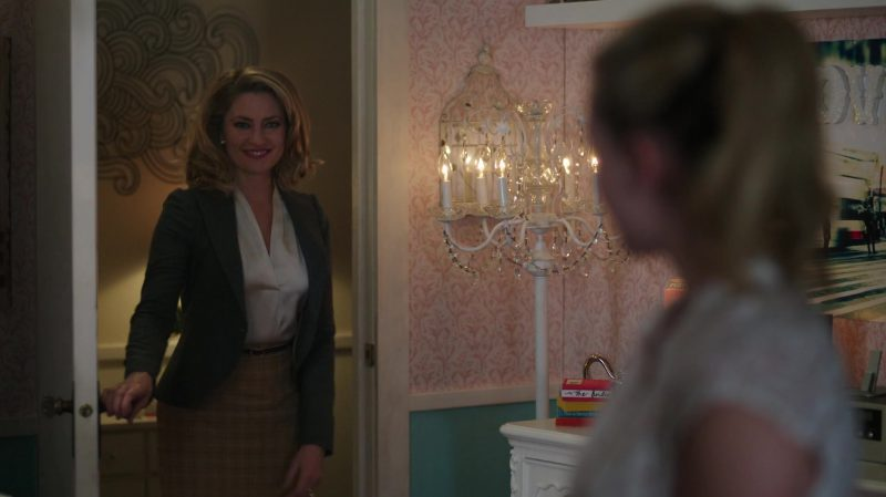 "Grey Blazer, White Blouse and Plaid Pencil Skirt Worn by Mädchen Amick in ""Riverdale"" TV Show"