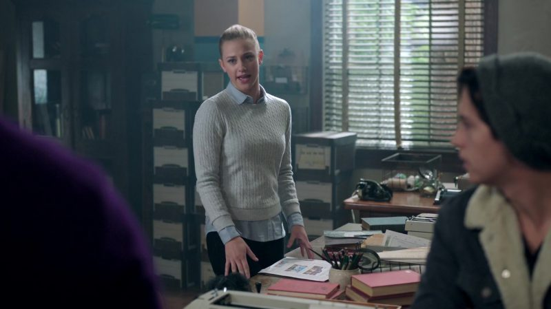 """Fashion Trends 2021: Grey Sweater and Polka Dot Shirt Worn by Lili Reinhart in """"Riverdale"""""""