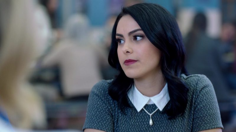 """Fashion Trends 2021: Grey Top With White Collar Worn by Camila Mendes in """"Riverdale"""""""