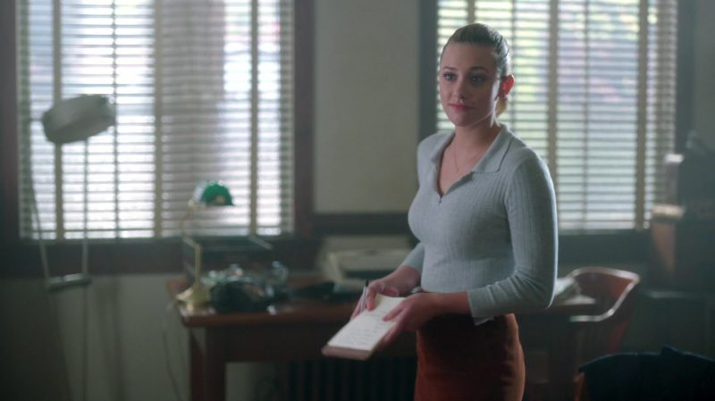"Grey Top and Brown Skirt Worn by Lili Reinhart in ""Riverdale"" TV Show - Female Fashion"