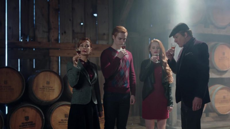 "Leather Jacket and Red Dress Worn by Madelaine Petsch in ""Riverdale"" TV Show"