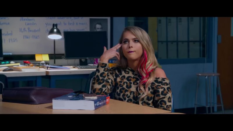"""Leopard Open Shoulder Sweater Worn by Anne Winters in """"Night School"""" - Movie Outfits and Products"""