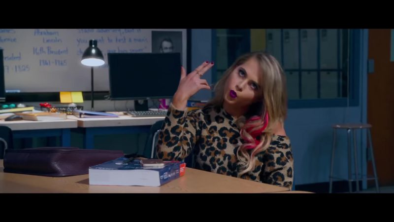 "Leopard Open Shoulder Sweater Worn by Anne Winters in ""Night School"" Movie"