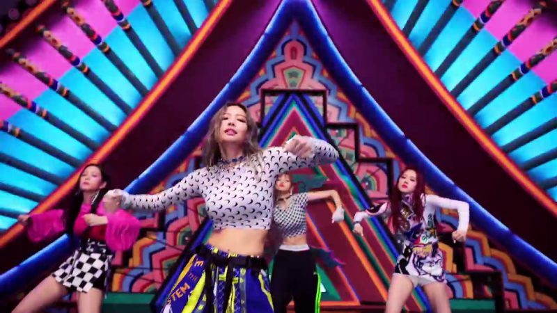 "Female  Celebrity Style:  Moon Print Cropped Long Sleeve Top in ""DDU-DU DDU-DU"" K-Pop Music Video by BlackPink"