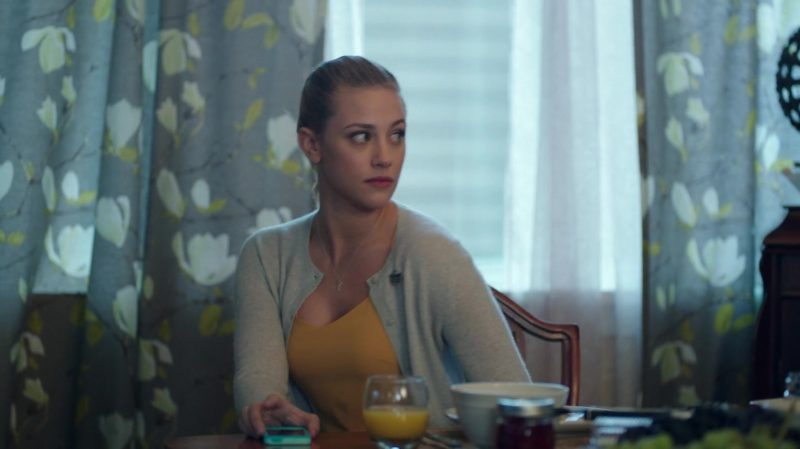 "Orange Top and Grey Cardigan Worn by Lili Reinhart in ""Riverdale"" TV Show"