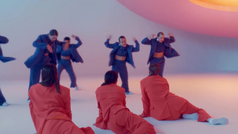 """Pant Suits (Orange and Blue) in """"IDGAF"""" Official Music Video by Dua Lipa - Female Fashion"""