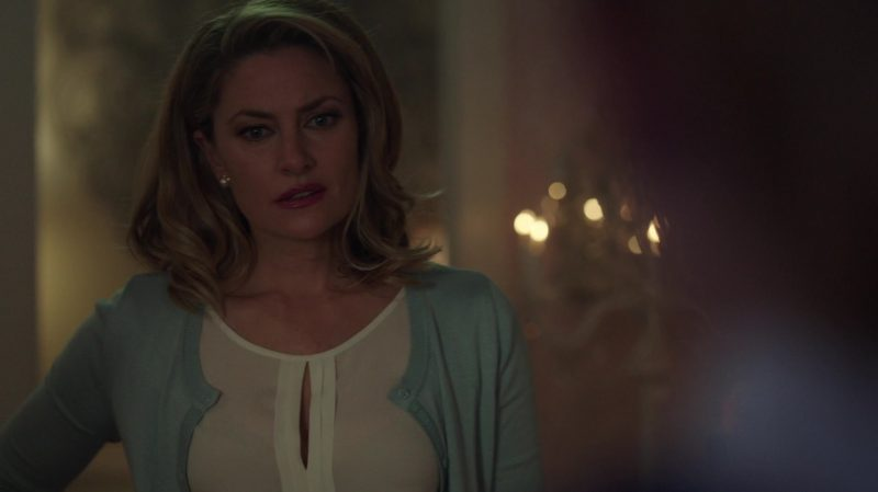 "Pastel Cardigan and White Blouse Worn by Mädchen Amick in ""Riverdale"" - TV Show Outfits and Products"