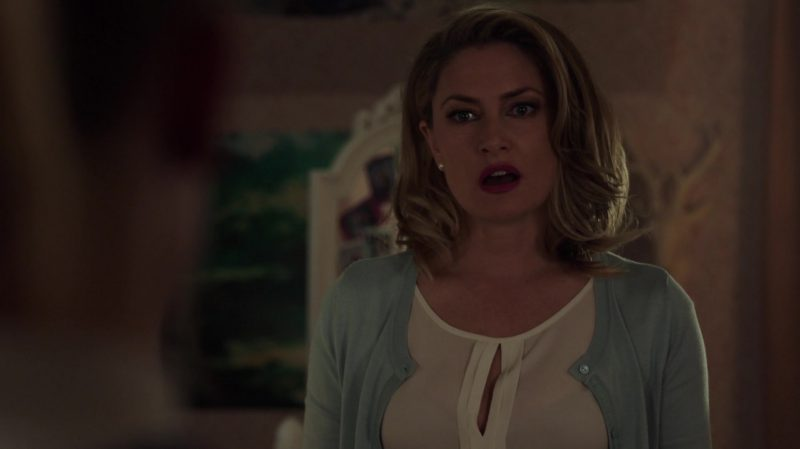 """Pastel Cardigan and White Blouse Worn by Mädchen Amick in """"Riverdale"""" TV Show"""