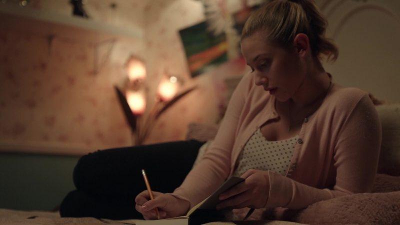 """Pastel Pink Cardigan And Polka Dot Top Worn by Lili Reinhart in """"Riverdale"""" - TV Show Outfits and Products"""