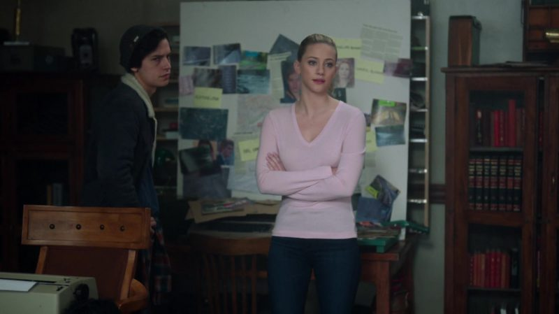 "Pastel Pink V-Neck Sweater Worn by Lili Reinhart in ""Riverdale"" - TV Show Outfits and Products"