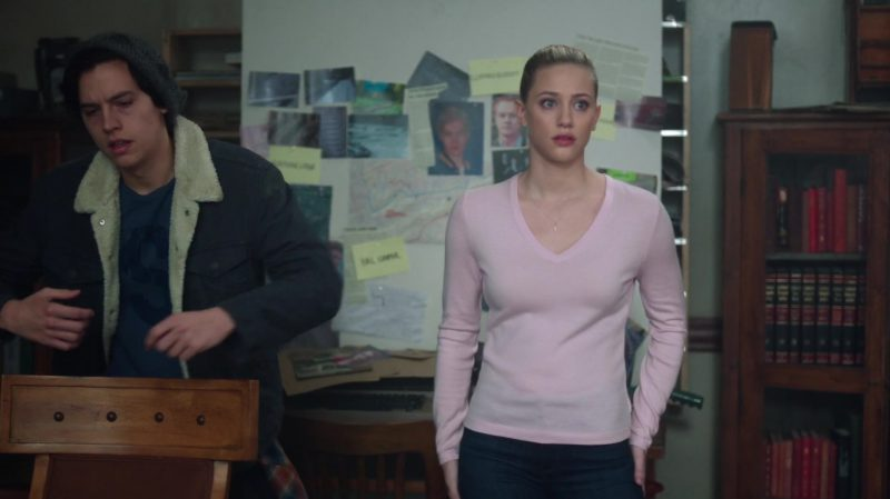 "Pastel Pink V-Neck Sweater Worn by Lili Reinhart in ""Riverdale"" TV Show"