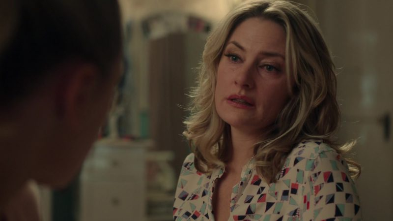 "Patterned Shirt Worn by Mädchen Amick in ""Riverdale"" TV Show - Female Fashion Outfits and Products"