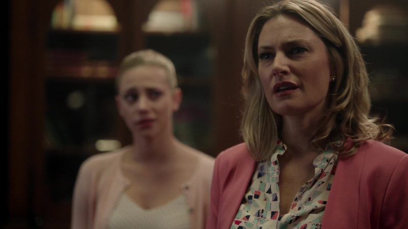 "Patterned Shirt and Pink Blazer Worn by Mädchen Amick in ""Riverdale"" TV Show"
