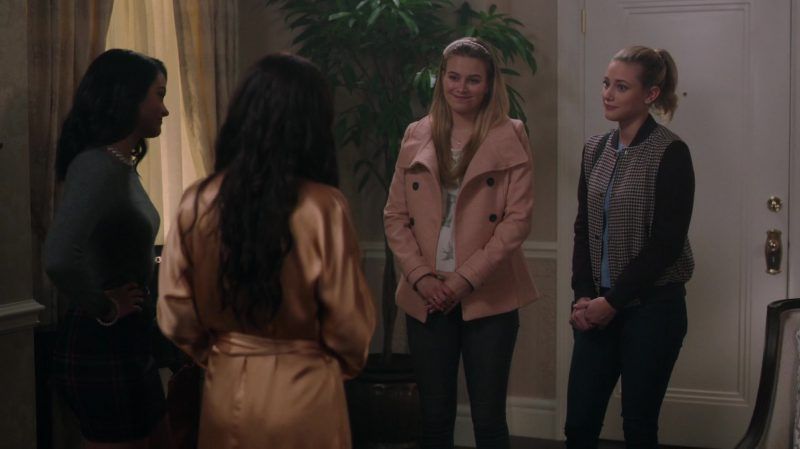 "Pink Coat Worn by Tiera Skovbye in ""Riverdale"" TV Show - Female Fashion Outfits and Products"