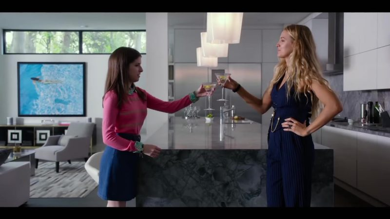 """Fashion Trends 2021: Pink Sweater and Blue Skirt Worn by Anna Kendrick and Blue Jumpsuit Worn by Blake Lively in """"A Simple Favor"""""""