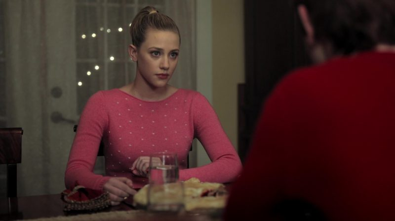 "Pink Sweater with White Dots Worn by Lili Reinhart in ""Riverdale"" TV Show - Female Fashion Outfits and Products"
