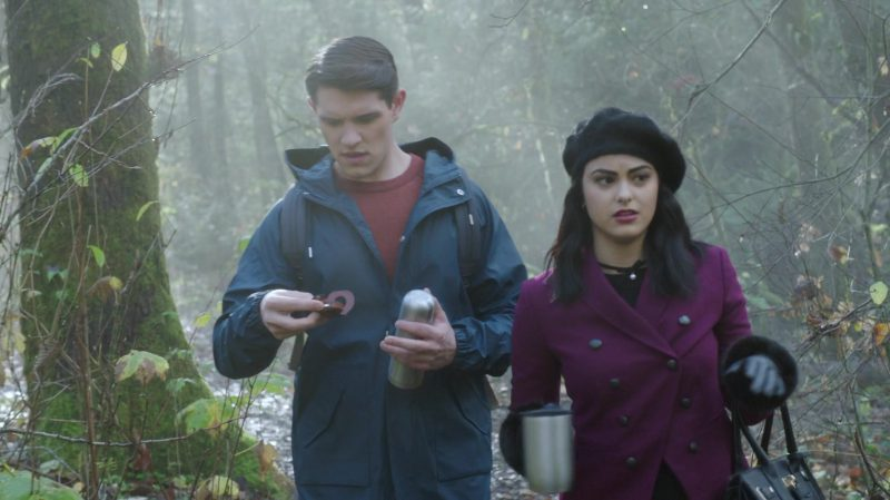"""Purple Coat and Beret Worn by Camila Mendes in """"Riverdale"""" TV Show"""