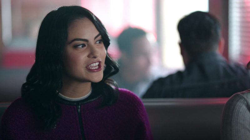 "Purple Collarless Jacket Worn by Camila Mendes in ""Riverdale"" TV Show - Female Celebrity Style"