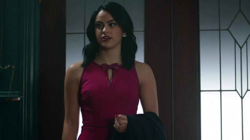 """Female  Celebrity Style:  Purple Dress With Bow Tie Worn by Camila Mendes in """"Riverdale"""" TV Show"""