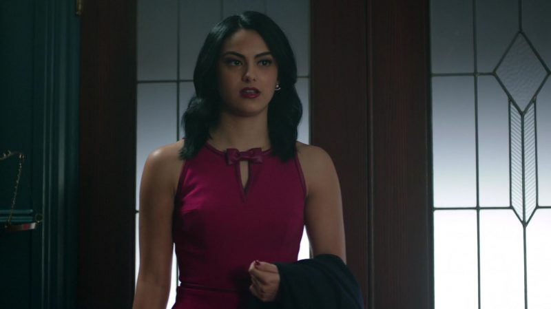 "Purple Dress With Bow Tie Worn by Camila Mendes in ""Riverdale"" TV Show"
