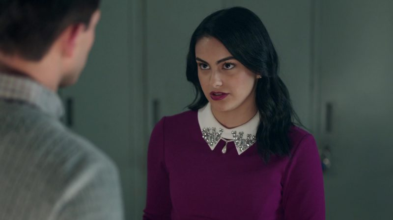 """Purple Long Sleeve Dress With White Collar Worn by Camila Mendes in """"Riverdale"""" TV Show - Female Fashion"""