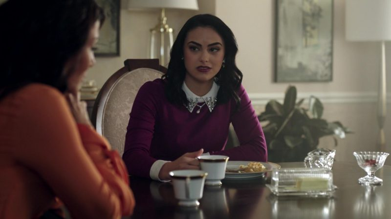 """Purple Long Sleeve Dress With White Collar Worn by Camila Mendes in """"Riverdale"""" TV Show"""