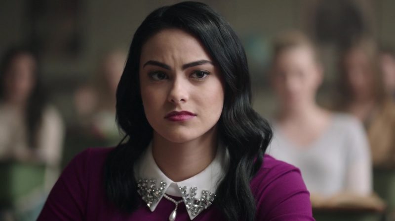 """Fashion Trends 2021: Purple Long Sleeve Dress With White Collar Worn by Camila Mendes in """"Riverdale"""""""