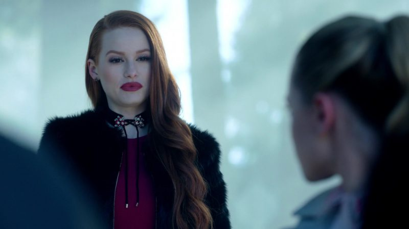 "Purple Top and Fur Coat Worn by Madelaine Petsch in ""Riverdale"" TV Show - Female Fashion Outfits and Products"
